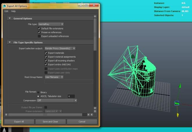 Maya Export Options - mental ray Export Render Proxy (Assembly)